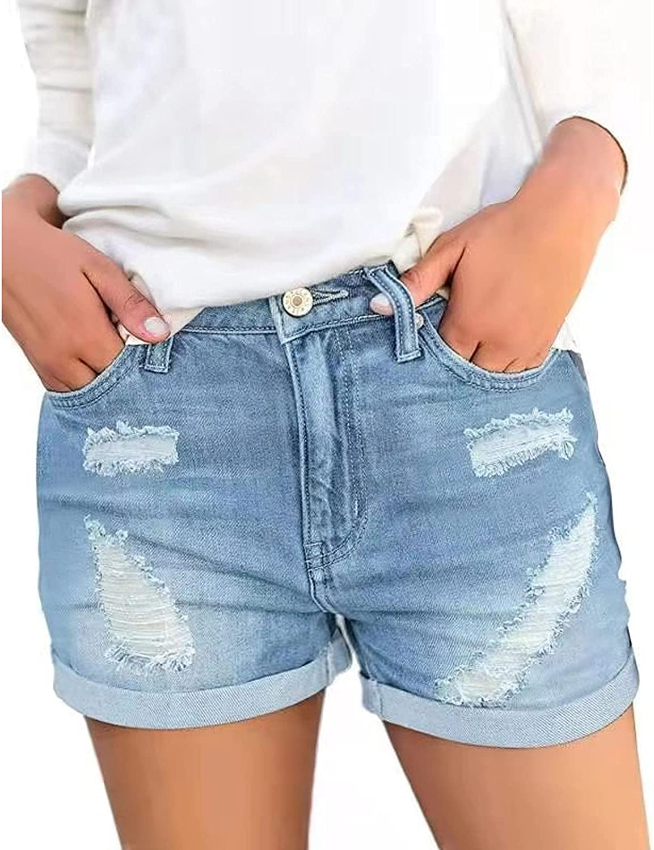 Women's Casual Denim Shorts Frayed Raw Hem Ripped Jeans Shorts Ripped Denim Mid Rise Stretchy Folded Hem Short Jeans