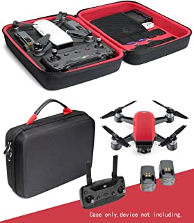 Mini Quadcopter Drone Case for DJI Spark, Remote Controller Slot, Smart panel with pockets for USB, Cable, Micro SD Cards and propellers and charger base (Black+Red)