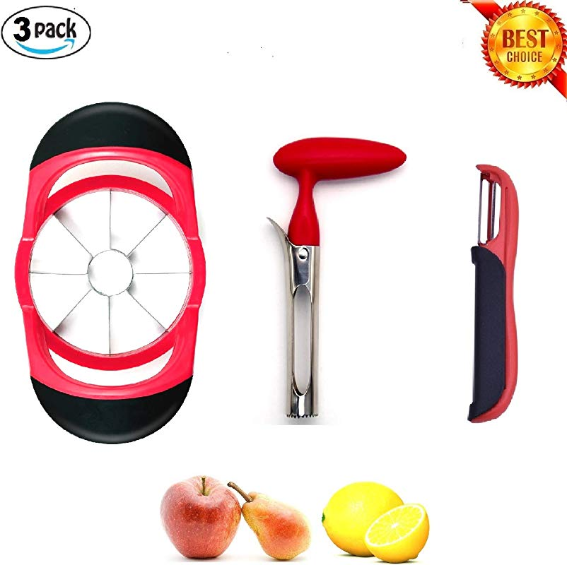 Asumita Kitchen Fruit Tools Gadgets Set Apple Slicer With 8 Serrated Blade Fruit Corer With Comfortable Grip And 2 In 1 Vegetable And Fruit Peeler Set Of 3PCS