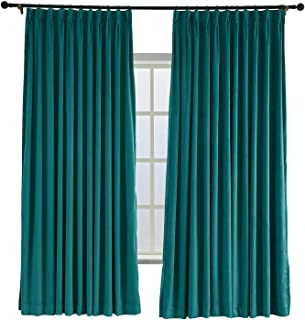 TWOPAGES 100 W x 96 L Pinch Pleated Curtains Room Darkening Velvet Curtain Drapery Panel for Traverse Rod Or Track, Living Room Bedroom Meetingroom Club Theater Patio Door (1 Panel), Everlade Teal
