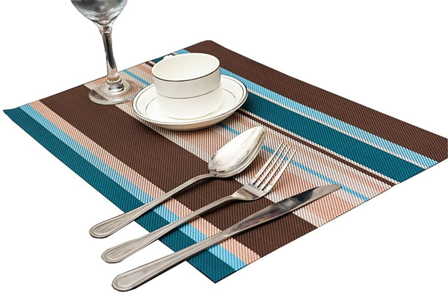 orden ahora con gran descuento y entrega gratuita Kangkang@ Set of of of 6 Creative Stripe Water-proof Place-mat Table Setting Plate Pad(azul) Western Europe Type Stripe Table Mats PVC Waterproof Heat Insulation Cup Mat Bowls Mat Doily by Kangkang  100% a estrenar con calidad original.