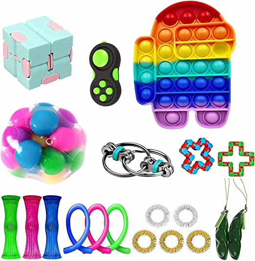 Stress Relief Fidget Toy Pack, Sensory Fidget Toys Pack with Push Pop Bubble Simple Dimple,Decompression Fidget Toys Set with Infinite Cube,Fidget Toy Gifts That Easy to Carry for Kids
