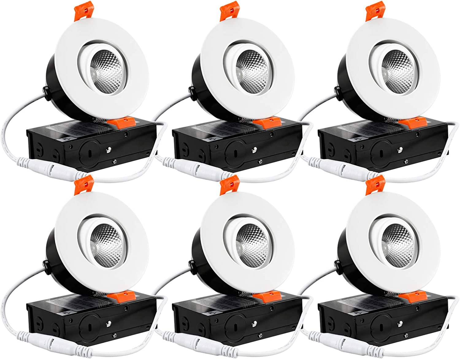 TORCHSTAR 6-Pack 3″ Gimbal LED Dimmable Recessed Light with J-Box, 7W (50W Eqv.) 500lm, Airtight, ETL Energy Star JA8 Title 24, CRI 90+, 3000K Warm White, 5 Years Warranty, White
