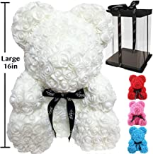Rose Flower Bear - Trendiees Fully Assembled 16 inch Hugz Teddy Bear - Over 20 Dozen Artificial Flowers - Gift for Mothers Day, Valentines Day, Anniversary & Bridal Showers (White) - w/Clear Gift Box