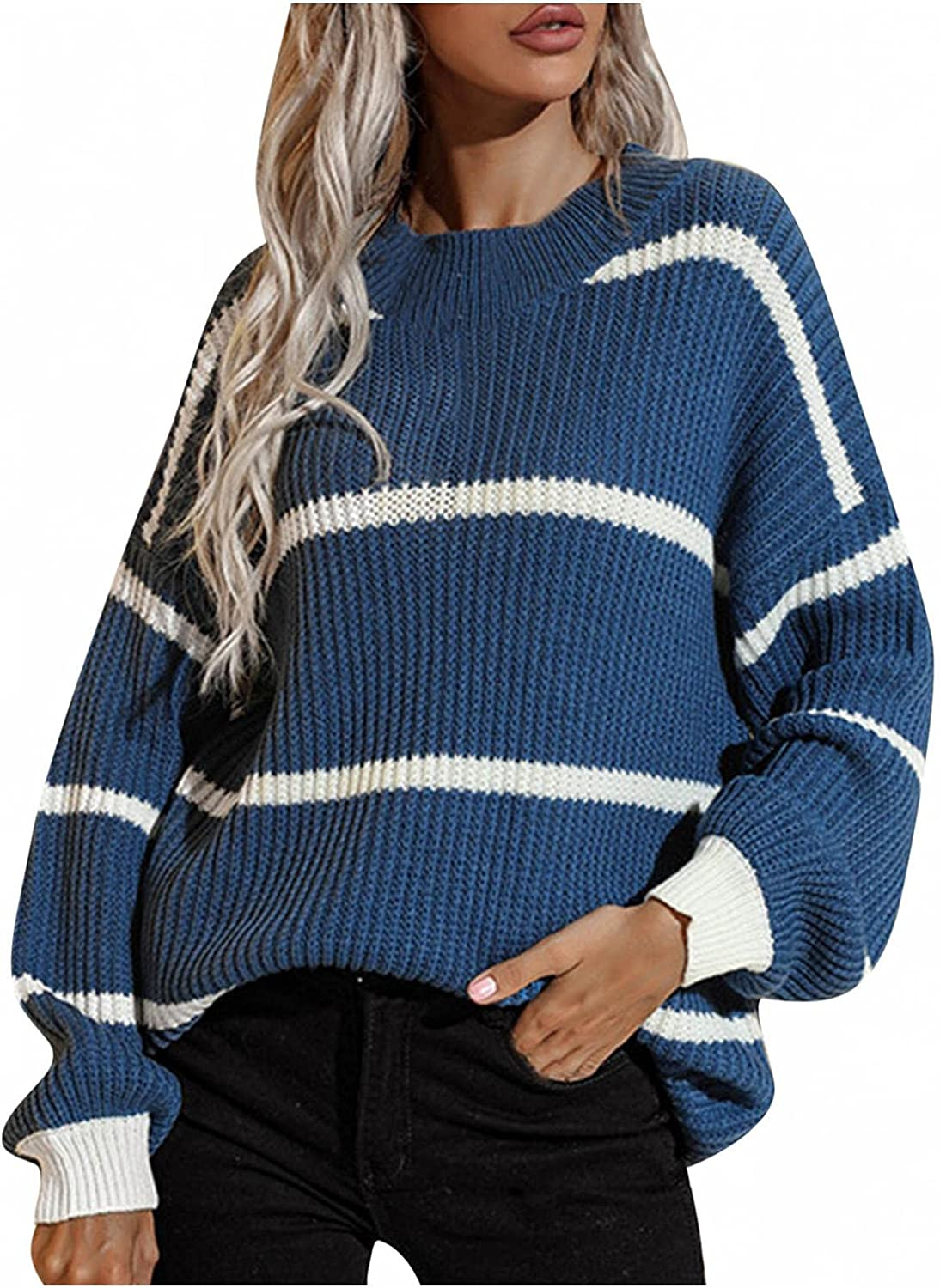 Women Oversized Max 85% OFF Long Sleeve 5 popular Striped Neck Crew Casual Kni Sweater