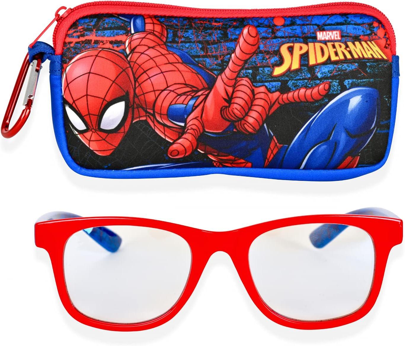 Spiderman Blue Light Glasses for Kids Computer Eyeglasses with Carrying Case | Blue Light Blocking Glasses for Boys Childrens Gaming Glasses (Red/Blue)
