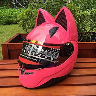 Personality Cat Ears Angled Full Face Modular Motorcycle Helmet, All Seasons Breathable Keep Warm Adjustable Detachable for Youth Adults Men & Women,Pink,M