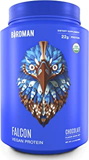 Birdman Falcon Protein, Vegan Protein Powder 2.18lb, 33 Servings, Chocolate, Organic, Plant-Based, Raw, Gluten Free, No Sugar Added, Low Carb, Non-GMO, Non Dairy, Lactose Free, Soy Free, Drink Mix