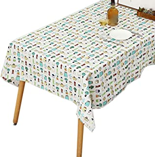 Bottles Pattern Tablecloth Cotton Linen Fabric Rectangle Table Cloth for Home Dining Room Hotel