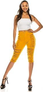 AP Blue Aphrodite Ripped Bermuda Shorts Jeans - Women's Destroyed Fashion Distress Denim Short Pants