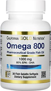California Gold Nutrition Omega 800 Pharmaceutical Grade Fish Oil, 80% EPA/DHA, 1,000 mg, 30 Fish Gelatin S...