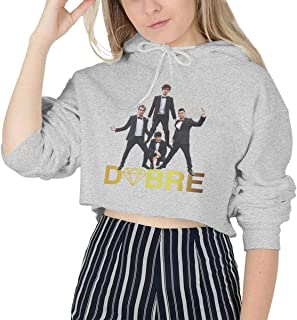 Dobre Brothers Funny Women's Long Sleeve Cat Ear Crop Top Hoodie Sweater
