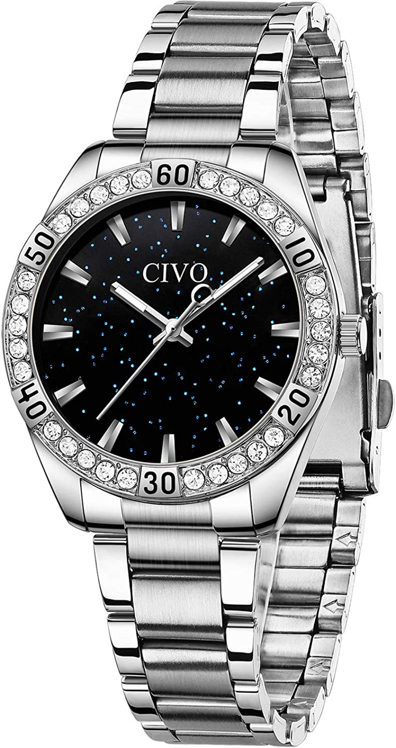 CIVO Women Max 44% OFF Watches Large special price Waterproof Ste Lady Diamond Stainless