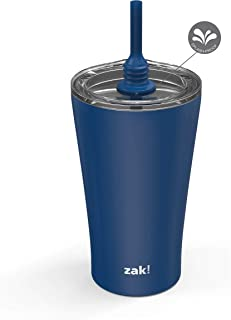 Zak Designs Alfalfa 20oz Stainless Steel Vacuum Insulated Tumbler with Flexible Silicone Straw, Double Wall Travel Mug wit...