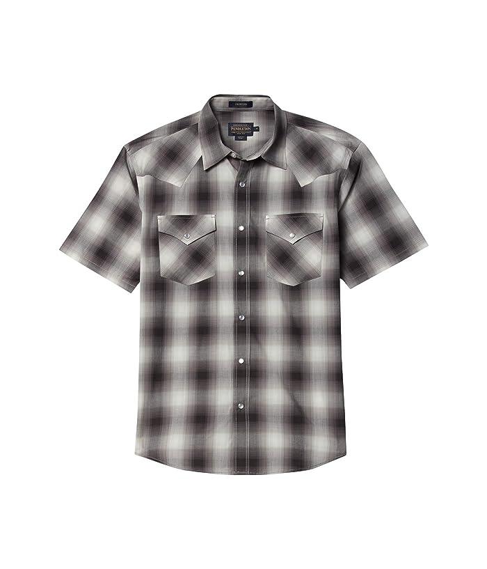 1950s Men's Clothing Pendleton Frontier Shirt Short Sleeve WhiteGreyBlue Plaid Mens Short Sleeve Button Up $53.55 AT vintagedancer.com