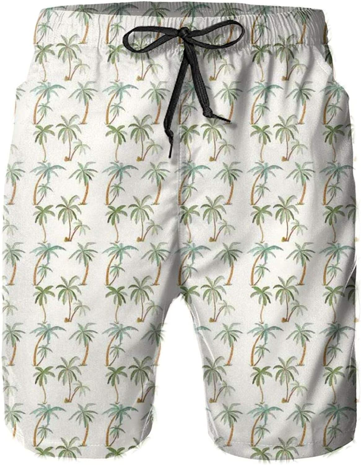 Graphic Tropical Palm Trees Pattern with Exotic Tahiti Nature Rainforest Island Mens Swim Trucks Shorts with Mesh Lining,M