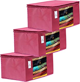 Kuber Industries 3 Piece Non Woven Fabric Saree Cover Set with Transparent Window, Extra Large, Pink-CTKTC31872