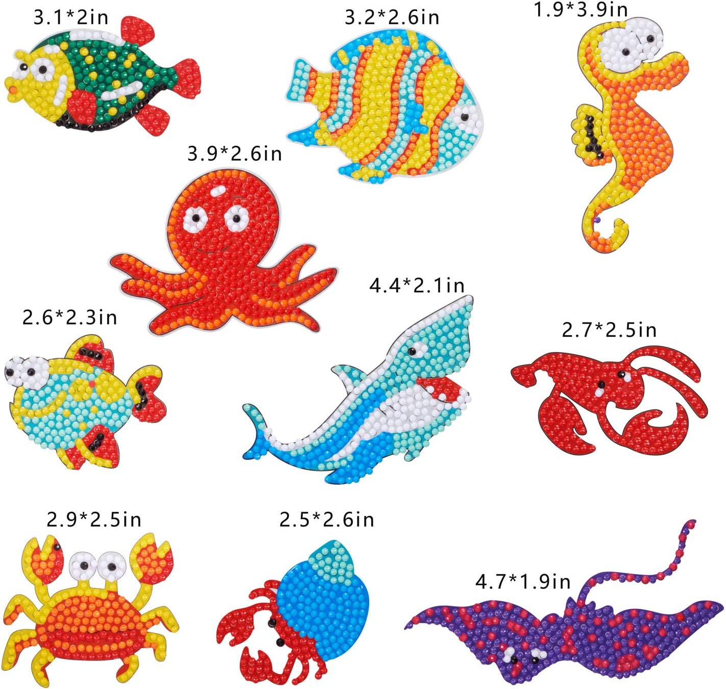 Suprcool 10 Pieces Underwater World Diamond Painting Stickers Kits for Kids,DIY Cute Animal 5D Diamond Art Mosaic Stickers by Numbers Kits for Children,Boys and Girls