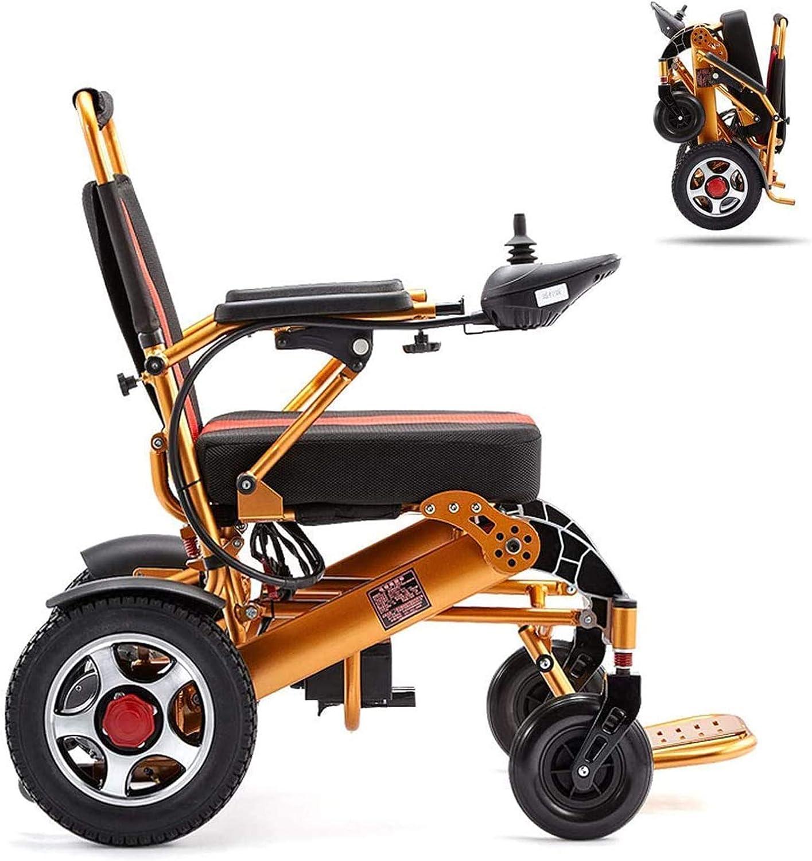LLSS Silla de Ruedas Silla de Ruedas eléctrica Plegable, Silla de Ruedas Ligera Scooter eléctrico Todo Terreno Silla eléctrica de Motor Dual Batería de Litio de 12 A Aleación