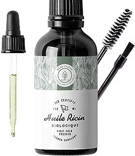 100ml Huile de Ricin Bio, Pressée à froid, Pure - Soin 100% Naturel stimule et fortifie la pousse des cheveux, barbe, cil...