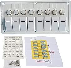 Amarine Made White 8 Gang Aluminium LED Rocker & Circuit Breaker Waterproof Marine Boat Rv Switch Panel - White- PN-LB8Z/W