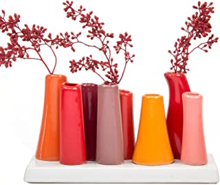Chive - Pooley 2, Unique Rectangle Ceramic Flower Vase, Small Bud Vase, Decorative Floral Vase for Home Decor, Table Top Centerpieces, Arranging Bouquets, Set of 8 Tubes Connected (Pumpkin)