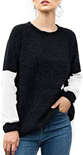 LOMON Womens Sweaters Long Sleeve Crew Neck Casual Color Block Pullover