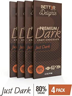 BETTER KETO Snacks 80% Dark Chocolate Bars   Sugar & Gluten Free Healthy Snacks   Low Carb High Fat Low Calorie Keto, Paleo & Vegan Diet Dessert   2.5 Oz 4-Pack