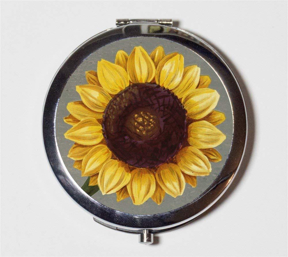 Sunflower Compact Mirror Sun Flower Flowers Floral Pattern Pocke