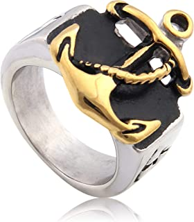 Warvik Military Anchor Ring Rope Nautical Steampunk Pirate Navy Style, Stainless Steel Jewelry Mens Womens 7/8/9/10/11/12/13