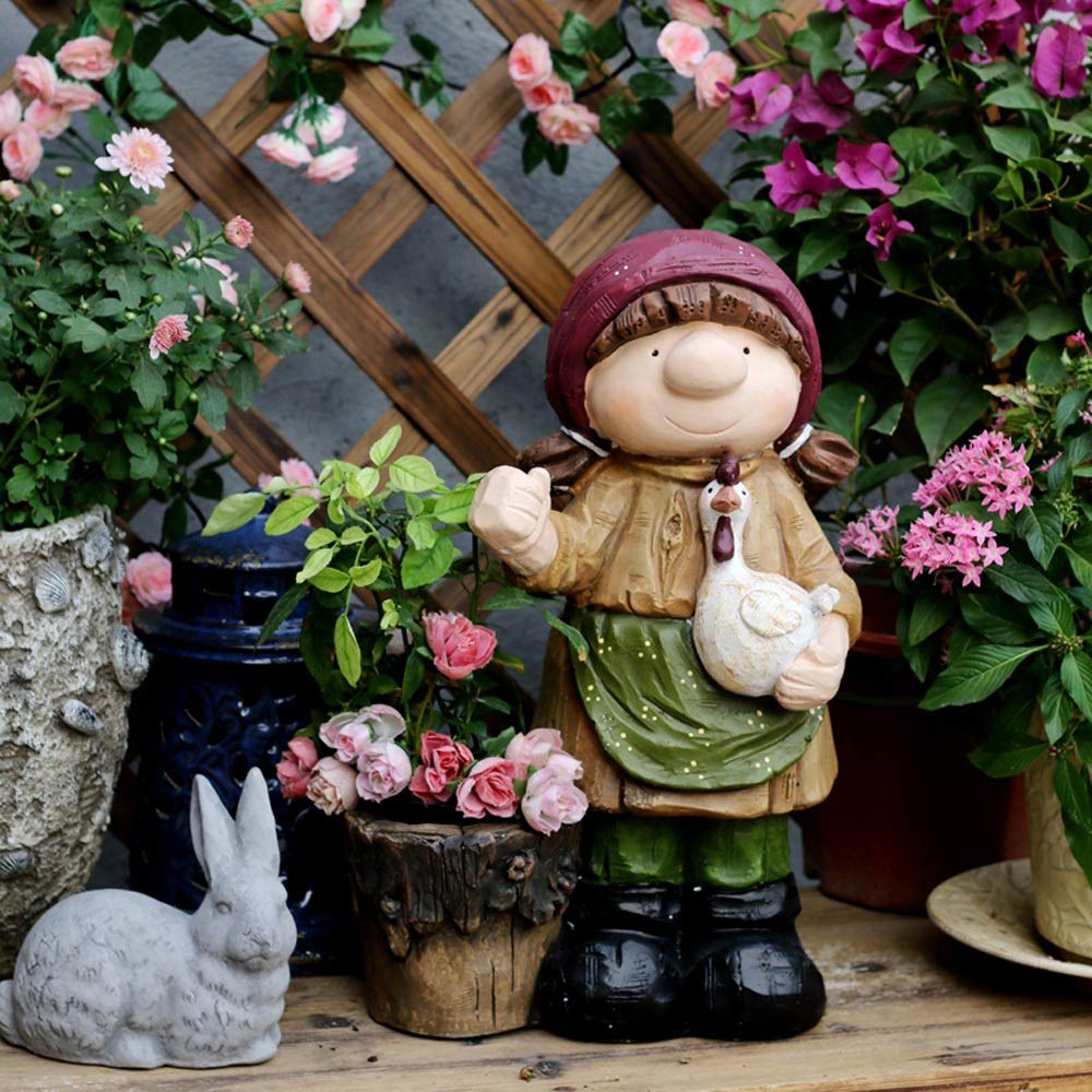 Adornos de Jardín Decoraciones del jardín Adornos Pintado a Mano de la niña de la Maceta óxido de magnesio Decoraciones del Arte de Interior o de Exterior Estatua Adorno Uso Exterior: Amazon.es: