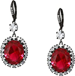 Haloed Oval CZ Drop Earrings