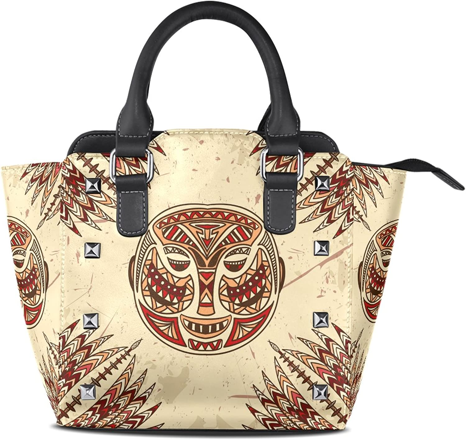 Sunlome Vintage Tribal Mask On The Grunge Print Handbags Women's PU Leather Top-Handle Shoulder Bags