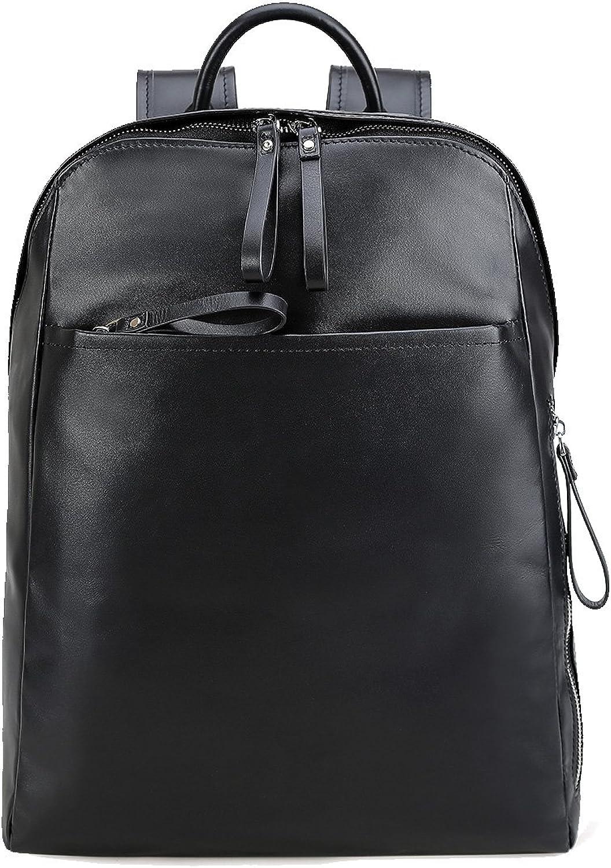 Genda 2Archer Men's Real Leather Backpack Purse School Bookbag Fit 14inch Laptop One Size Black