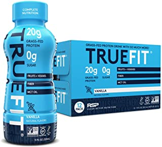 RSP TrueFit - Protein Shake Meal Replacement, Grass-Fed Protein Ready to Drink, Organic Real Food, Probiotics, Vanilla, 12...