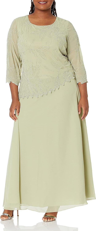 J Kara Plus Size Beauty service products Womens Sheer Beaded Sleeve Floral Long Dress