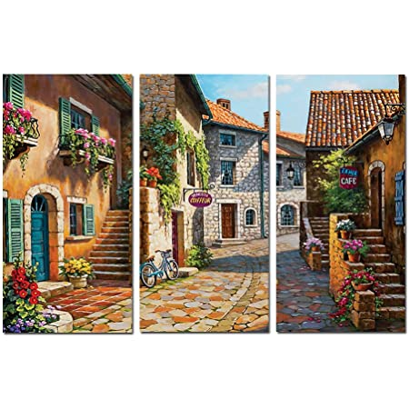Amazon Com Decor Well Italy Tuscan Village Landscape Painting Print On Stretched Canvas Wall Art Set Of 3 Posters Prints