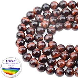 LPBeads 100PCS 8mm Natural Red Tiger Eye Gemstone Round Loose Beads for Jewelry Making with Crystal Stretch Cord