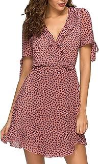 Hellozebra Women's Chiffon Floral Deep V-Neck Boho Mini Dress Beach Sundress