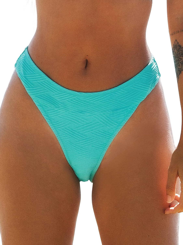 CUPSHE Women's Bikini Bottom High Cut Mid Waist Cheeky Bathing Suit
