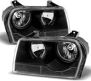 ACANII - For 2005-2010 Chrysler 300 Halogen Black Headlights Headlamps Head Lights Replacement Driver + Passenger Side