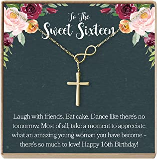 Sweet 16 Gift Necklace: Sweet Sixteen, 16th Birthday, Gift for Her, Infinity Cross