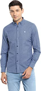 Red Tape Men's Checkered Regular fit Casual Shirt (RSF9114A_Light Blue L)