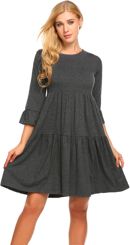 Masakia Women's Cute 3 4 Sleeve ALine O Neck Sweet Pleated Mini Dress