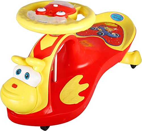 BabyGo Baby Monk Musical Magic Swing Car Ride On for Kids Red and Yellow