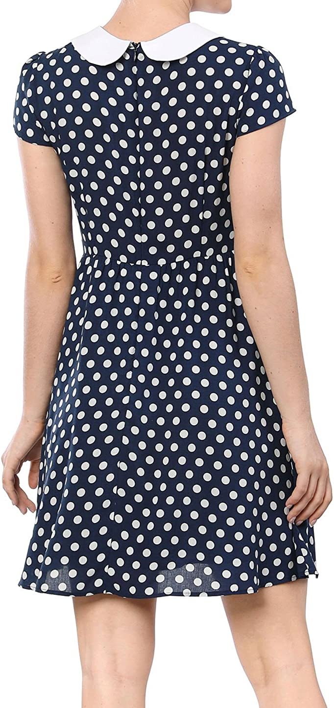 Allegra K Womens Peter Pan Collar Above Knee Contrast Polka Dots Dress