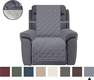 CHHKON Waterproof Nonslip Recliner Cover Stay in Place, Dog Couch Chair Cover Furniture Protector, Ideal Loveseat Slipcovers for Pets and Kids (Light Grey, 23'')