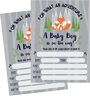 50 Fill in Fox Baby Shower Invitations, Baby Shower Invitations Woodland, Custom, Rustic, Jungle, Forest, Neutral, Baby Shower Invites for Boy, Baby Shower Invite Cards, Baby Invites Printable
