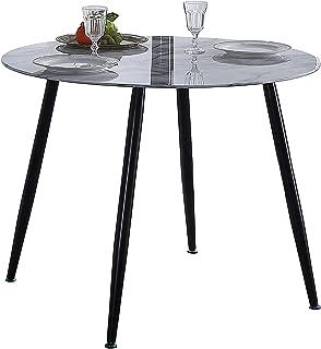 Adec - Suecia, mesa de comedor redonda, mesa de salón, dimensiones: 100 cm (diámetro) x 75 cm (alto).  (Mármol y negro)