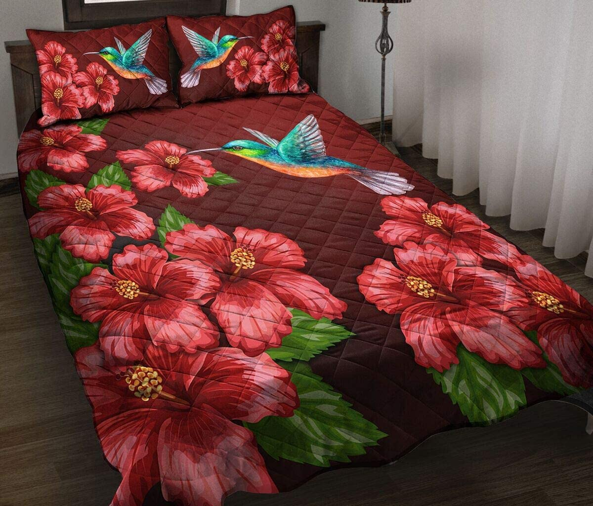 Personalized Hummingbird Floral 2021 autumn and winter new Quilt Gift Elegant for Your Birt Lovers